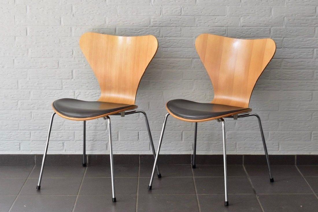 3107 Stuhl in Buche mit Leder Sitzkissen von Fritz Hansen